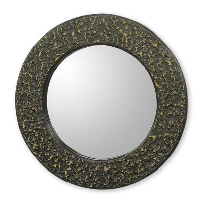Artisan Crafted Wall Mirror in Black