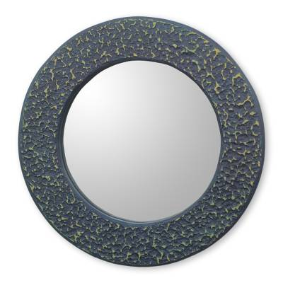 Blue Handcrafted Wall Mirror from Ghana