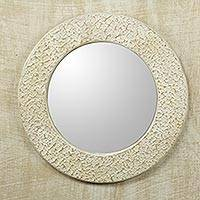 Wall mirror, 'Cape Coast Cream' - Ghana Cream and White Handcrafted Wall Mirror