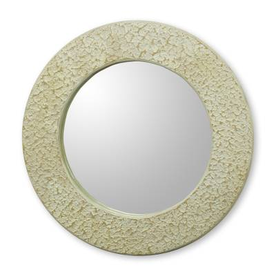 Ghana Cream and White Handcrafted Wall Mirror