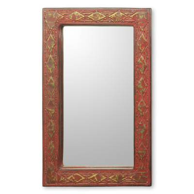 Ghana Artisan Crafted Rustic Wall Mirror in Red