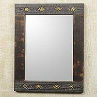 Wall mirror, 'Antique Textures' - African Artisan Crafted Rustic Wood Wall Mirror from Ghana