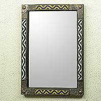 Beaded wood wall mirror, 'Ahoufe II' - African Beaded Wood Frame Wall Mirror with Metal Accents