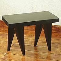 Cedar stool, 'Contemporary Black' (19 inch) - Modern Artisan Crafted African Cedar Wood Stool (19 Inches)