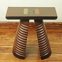 Cedar stool, 'Tekura Mask' (Ghana)