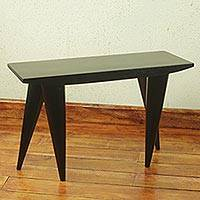 Cedar stool, 'Contemporary Black' (26 inch) - Modern Artisan Crafted African Cedar Wood Stool (19 Inches)2