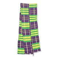 Cotton blend kente cloth scarf, 'Nyiraba' (9 inch width) - Purple Green and Yellow Kente Cloth Scarf (9 Inch Width)