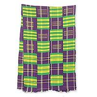 Cotton blend kente cloth scarf, 'Nyiraba' (18 inch width) - Colorful Kente Cloth Scarf from Africa (18 Inch Width)