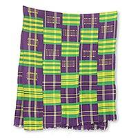 Cotton blend kente cloth scarf, 'Nyiraba' (23 inch width) - Multicolored Kente Cloth Scarf from Ghana (23 Inch Width)