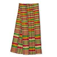 Cotton blend kente cloth scarf, 'Obaahema' (12 inch width) - Pink Green and Orange Kente Cloth Scarf (12 Inch Width)