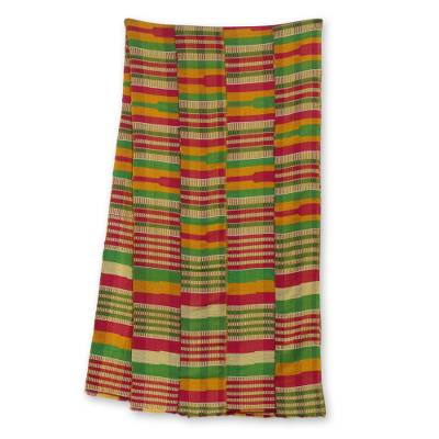 Cotton blend kente cloth scarf, 'Obaahema' (16 inch width) - Colorful Cotton Blend African Kente Scarf (16 Inch Width)