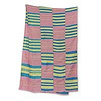 Cotton blend kente cloth scarf, 'Faith' (18 inch width) - Hand Woven Pastel Kente Scarf from Ghana (18 Inch Width)