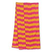 Cotton blend kente cloth scarf, 'Pink Lady' (14 inch width) - Artisan Crafted Pink and Orange Kente Scarf (14 Inch Width)
