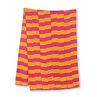 Cotton blend kente cloth scarf, 'Pink Lady' (19 inch width) - Artisan Crafted 19-Inc Pink and Orange Kente Scarf