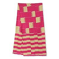 Cotton blend kente cloth scarf, 'Odehye Ba' (13 inch width) - Hand Woven Kente Cloth Scarf from Ghana (13 Inch Width)