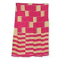 Cotton blend kente cloth scarf, 'Odehye Ba' (18 inch width) - Hand Loomed Ivory and Pink Kente Scarf (18 Inch Width)