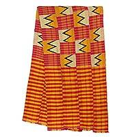 Cotton blend kente cloth scarf, 'Winner' (16 inch width) - Kente Cloth Scarf in Cotton and Rayon Blend (16 Inch Width)