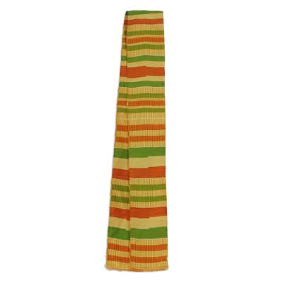 Cotton blend kente cloth scarf, 'Prince' (4 inch width) - Traditional Handmade African Kente Scarf (4 Inch Width)