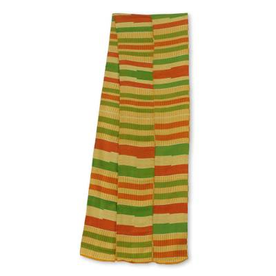 Cotton blend kente cloth scarf, 'Prince' (9 inch width) - Multicolored Kente Cloth Scarf Made in Ghana (9 Inch Width)