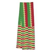 Cotton blend kente cloth scarf, 'Obasima' (9 inch width) - Artisan Crafted Green and Red Kente Scarf (9 Inch Width)