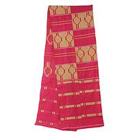 Cotton blend kente cloth scarf, 'Princess' (11 inch width) - Fair Trade Pink African Kente Cloth Scarf (11 Inch Width)