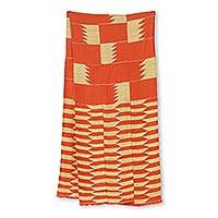 Cotton blend kente cloth scarf, 'Asomdwe Hene' (14 inch width) - Bold Orange and Ivory Kente Scarf from Ghana (14 Inch Width)