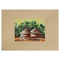 'Friends Forever I' - Friends in Ghanaian Village Signed Painting with Mat Board
