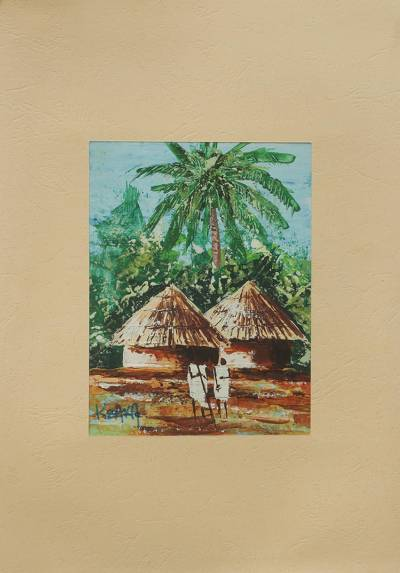 'Friends Forever II' - Ghanaian Village Friends Signed Painting with Mat Board