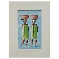'The Twins II' - Ghanaian Twin Sisters Signed Painting with Matting