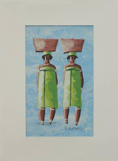 Ghanaian Twin Sisters Signed Painting with Matting