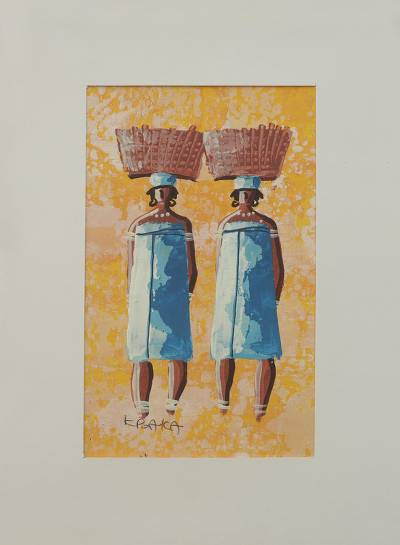 'The Twins I' - Signed Painting of African Twin Sisters with Mat Board
