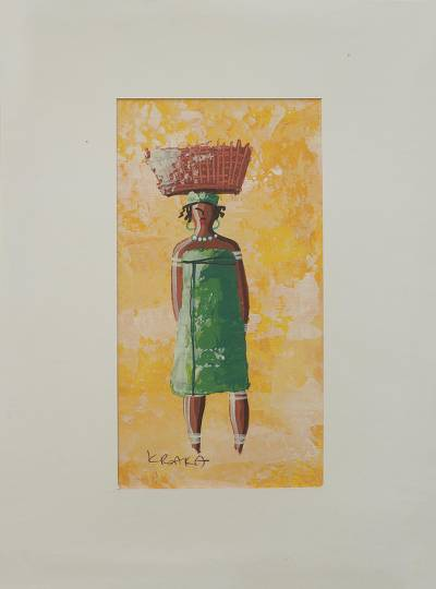 African Woman in Green Painting with Mat Board