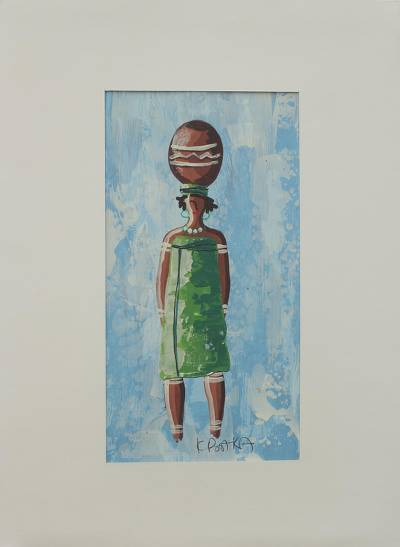'Abiba I' - Ghanaian Woman with Calabash Painting with Matting
