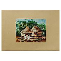 'Friends Forever III' - Ghanaian Village Scene Signed Painting with Mat Board