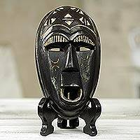 African wood mask, 'Hola' - Hand Carved African Wood Smiling Mask with Stand
