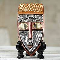 African beaded wood mask, 'Elavanyo' - Hand Carved African Wood Mask with Stand from Ghana