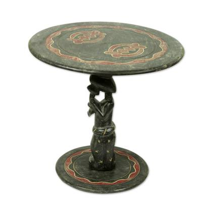 Wood accent table, 'Mother and Child' - Hand Carved African Accent Table with Adinkra Symbol