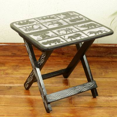 Wood folding accent table, 'Forest' - Folding Accent Table with Animal Motifs from Ghana