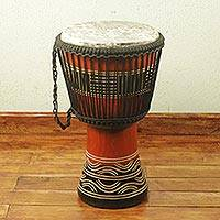Wood djembe drum, 'Kente Spirit' - Handcrafted Kente Theme Authentic African Djembe Drum
