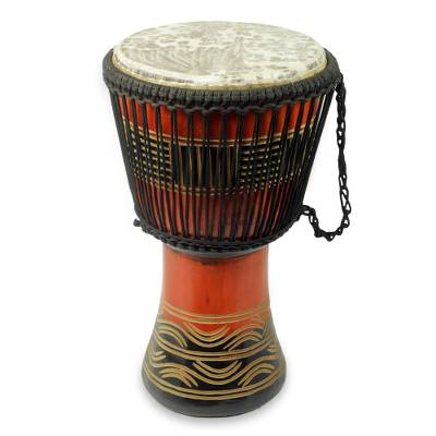 Handcrafted Kente Theme Authentic African Djembe Drum