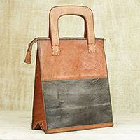 Leather handle handbag, 'Modern Colors' - Leather Handle Handbag in Ginger and Black from Ghana