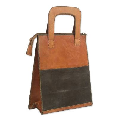 Leather Handle Handbag in Ginger and Black from Ghana