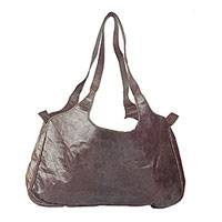 Leather shoulder bag, 'African Energy' - Handmade Leather Shoulder Bag in Sepia from Ghana