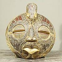 African wood mask, 'Elephant of Happiness' - Elephant Theme Handcrafted Circular African Wall Mask