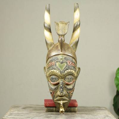 African wood mask, 'Lovebird' - Hand Carved Lovebird African Mask with Horns