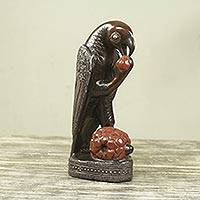 Wood sculpture, 'Parrot with Palm Fruit' - Handcrafted African Bird Theme Wood Sculpture