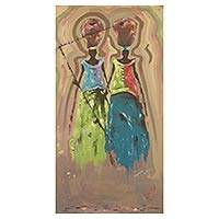 'Concerned Mothers' - Expressionist Style Acrylic Painting of Two Women