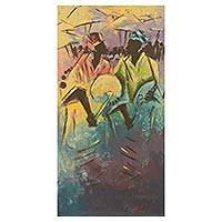 'Rhythm' - Colorful Expressionist Painting of African Musicians