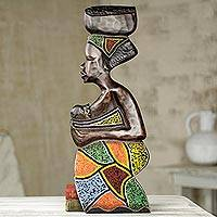 Beaded wood wall sculpture, 'Motherhood' - African Handmade Wood Wall Relief Panel of Mother and Baby
