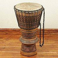 Wood bougarabou drum, 'Pillar of Rhythm' - West African Wood and Leather Bougarabou Drum